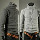 NEW Mens Fashion Dissident Ribbed High collar Knit Jumper/ Sweater 2 colour