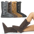 Faux Suede Fur Round Toe Buttons Triplet Snow Winter Mid Calf Flat Boot US 5-10