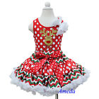Girls Xmas Reindeer Red Polka Dots Chevron Pettiskirt Tank Top Party Dress 1-7Y