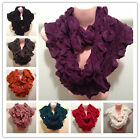 New Winter Warm Puffy Infinity Scarf Two Circle Neck Long Shawl Colors