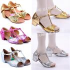 Fashion Womens Girls Ballroom Latin Salsa Dance Shoes Sequins Gold/Silver/Rose