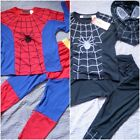 W033CD Kid Boys Black Spiderman Costume Halloween Christmas Fancy Dress 2-8 Year