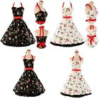 FLOWER SWING DRESS PARTY PROM DRESS ROCKABILLY PIN UP RETRO VINTAGE 50's 60s HOT