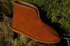 Womens Mens 100% Pure Sheepskin Suede Brown Slippers Boots Sheep wool HARD  SOLE