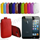 Large Premium PU Leather Pull Tab Case Cover Pouch For Apple iPhone 5 5s