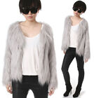 RTBU Punk Boho Rock Shaggy Shearing Faux Fur Furry Gorilla Ash Gray Jacket Coat