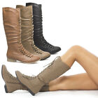 Military Combat Lace Up Riding Motorcycle Mid Calf Knee High Flat Low Heel Boot