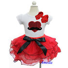 Girls Valentine's Day Red Black Tutu Bling Heart Mustache 2pcs Party Dress 1-7Y