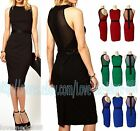 New Womens CELEBRITY cLUB party mesh sheer fitted PENCIL WIGGLE DRESS bodycon