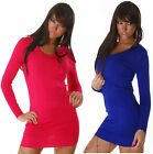 blue Long top Ladies jumper dress MINI knitted patch swing top long sleeve 8-12