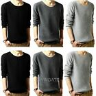 Hot Sale Fashion Men's Classic Crew Neck  Sweater Long Sleeve Cotton Knit Tops