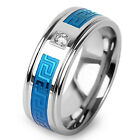 Men's Stainless Steel Wedding Engagement Band Blue IP CZ Center Maze Inlay Ring