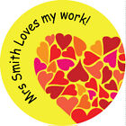 personalised School labels 30mm Round - Loves my work heart stickers - valentine