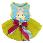 Easter Yellow Tutu Blue Polka Dots Brown Bunny Rabbit Party Dress Small Pet Dog