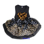 Valentine's Day Black Brown Leopard Heart Party Dress Small Pet Dog Clothes XS-L