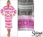 New Ladies Supersoft Fleece Hooded Fairisle Pattern Nightie Robe Grey Pink 14-16