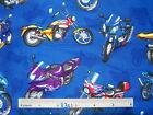 Speedy Hot Chopper Motorcycles cotton quilting fabric *Choose colour & size