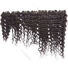 "EXTENSIONS DE CHEVEUX Remy Deep Wave Wavy Human HAIR Weft 10""-24"" 100g Black"