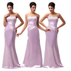Elegant Beaded Strapless Long Satin Ball Gown Evening Prom Party Ladies Dresses