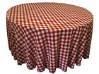 "5 Round 120"" Checkered Polyester Tablecloths 3 Colors Gingham Buffalo Check"