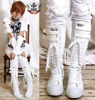 20 Hole Punk Rock Vegan Faux Leather 2 Velcro Strap Knee Hi Unisex Sneaker White