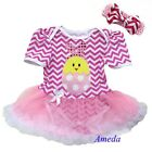 Newborn Baby Easter Pink Chevron Bunny Chick Romper Tutu Party Dress Bodysuit