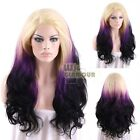 "Long Curly Wavy 18""-28"" Blonde Purple Black Lace Front Synthetic  Wig"