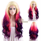 "Long Wavy 18""-28"" Light Blonde Magenta Mixed 2 Tone Purple Lace Front Wig"