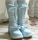 Sweet Lolita Dolly Cosplay Princess 2 Bow Tie Knot Laceup Heel Winter Boot Blue