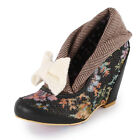 Irregular Choice Lip Curl Womens Fabric Heels Brown New Shoes All Sizes