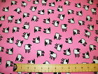 Stretch Cotton Fabric Pink with white sheep design 150cm width ½ and 1mts
