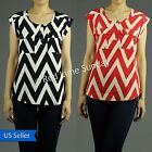 Short Sleeve Chic Chevron Zigzag Stripe Chiffon Button Pullover Shirt Blouse Top