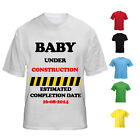 NEW KIDS WOMENS BABY UNDER CONSTRUCTION PERSONALISED PREGNANCY NOVELTY T-SHIRT