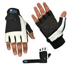 DAM WEIGHT LIFTING GYM GLOVES BODY BUILDING WORKOUT WHITE BLACK COWHIDE LEATHER