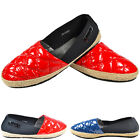 WOMEN'S LADIES CASUAL FLAT RED/BLUE NEW QUILTED DECK SHOES SIZE UK 3 4 5 6 7 8