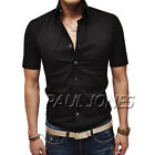 2014 Brand new Men Leisure Casual Shirts Slim Fit Dress College Boy Short Sleeve