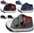 Light Up Boys Baby Toddler Spider Web Canvas Flat Sneaker Shoes BLACK BLUE GRAY