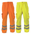 BLACKROCK HI VIS WORK TROUSERS YELLOW ORANGE HIGH VIZ CARGO PANTS