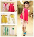 Kids Baby Girls Polka Dot Summer Set Sleeveless Shirt Cropped Trousers Casual