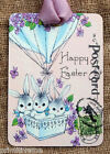 Hang Tags  BUNNIES IN HOT AIR BALLOON EASTER TAGS or MAGNET #505  Gift Tags