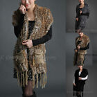 Women Cape Shawl Scarf Knitted Rabbit Fur Waistcoat Vest Coat Outwear Warm Tops