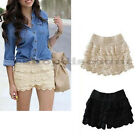 S-XXXL Ladies Girls Sweet Crochet Tiered Lace Mini Skirt Skort Shorts Short Pant