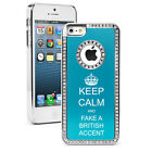 For iPhone 4 4S 5 5S 5c Light Blue Rhinestone Case Keep Calm Fake British Accent