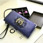 2014 Spider Punk Checkbook Change Coin Bag Women's Purse Handbag Ladies Wallet