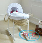 Full Set Palm/ Wicker Moses Basket With Mattress, Cover and Rocking Stand  <br/> White Natural Brown✔ Bedding Made In The UK✔ In Stock✔