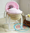 MCC&reg; Full Set Palm/ Wicker Moses Basket With Mattress, Cover, and Rocking Stand  <br/> White Natural Brown✔ Bedding Made In The UK✔ In Stock✔
