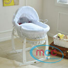 Full Set Wicker Moses Basket With Mattress, Cover and White Rocking Stand
