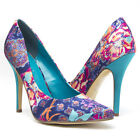 Blue Pink Satin Pointy Toe Floral Paisley Classic Stiletto High Heel Pump US5-11