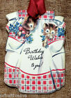 Hang Tags  RETRO APRON KITTEN BIRTHDAY TAGS #250  Gift Tags