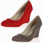 Ladies New Faux Suede Womens Smart Evening Party Wedge High Heel Court Shoes